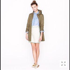 NWOT J. crew cream glimmer tweed spring mini skirt